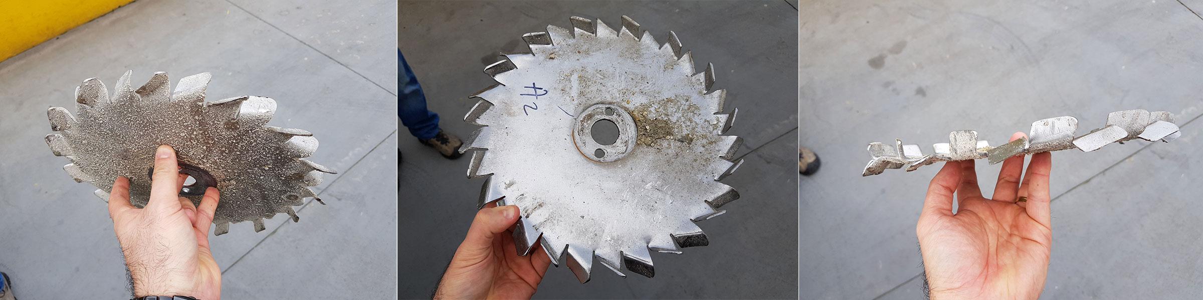 Disco dispersor desgastado pelo uso