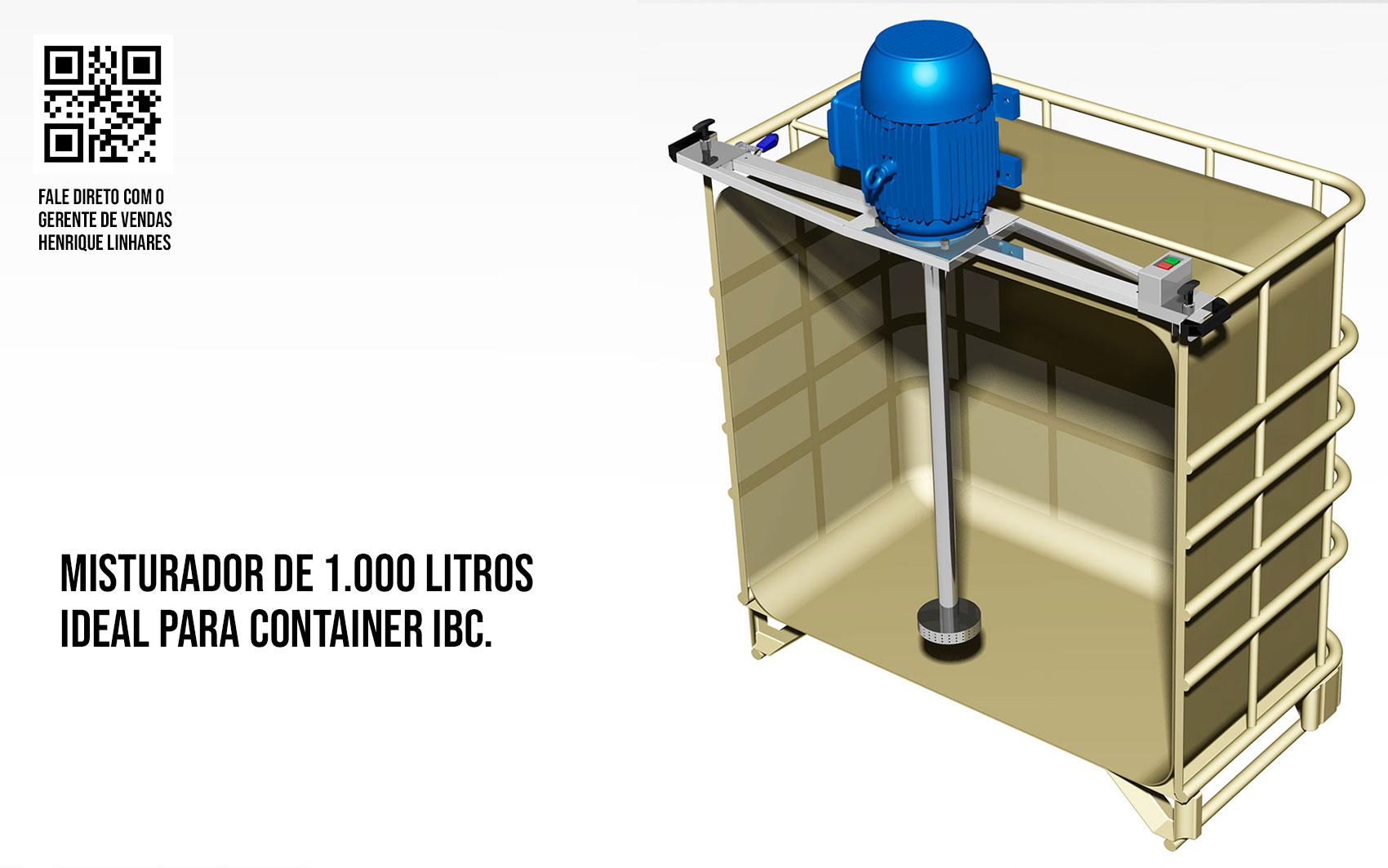 Misturador para produtos de limpeza, container 1000 litros